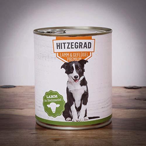 Hitzegrad® Lamm & Geflügel, 800g Sparpaket 6 Dosen - Nassfutter für Hunde mit hohem Fleischanteil und in Premiumqualität