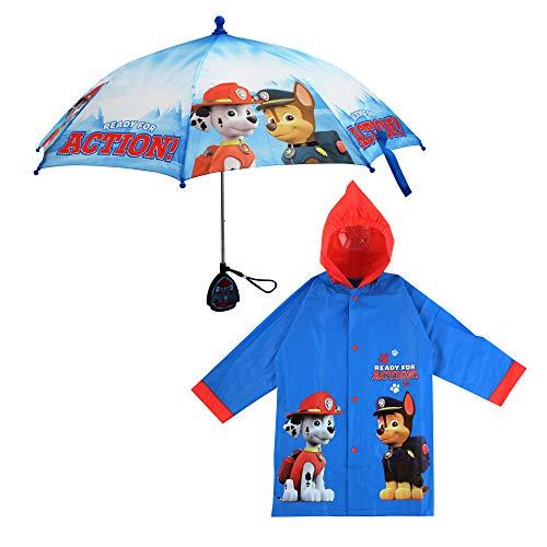 Nickelodeon Little Kids Umbrella and Slicker, Paw Patrol Toddler Boy Rain Wear Set, for Ages 2-7, Light Blue, Medium, Age 4-5