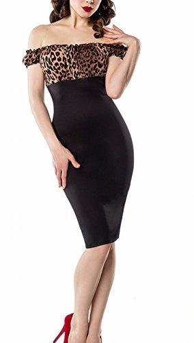 Schulterfreies Damen Pencilkleid in schwarz mit Leopard Muster Vintagekleid mit kurzen Ärmeln XS dunkel Retro