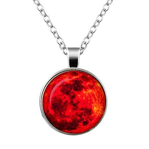 Blutmond-Glas-Anhänger, Planeten-Halskette, Weltraum, Universum-Schmuck, rot, Geburtstagsgeschenk, ein schönes Geschenk.