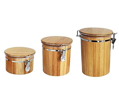 HUIJK Set 0,5L und 1L und 1,5 L Bambus-Holz Vorrats-Dose aromadicht Bügelverschluss Kaffeedose