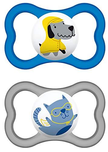 MAM Air Latex Schnuller im 2er-Set, extra leichtes und luftiges Schilddesign, zahnfreundlicher Baby Schnuller aus Naturkautschuk mit Schnullerbox, 6-16 Monate, blau