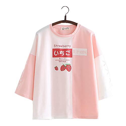 Vdual Japonais Les Filles Fraise Avocat Délicieux Couleur Bloquer T-Shirt