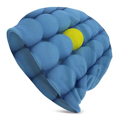 BGDFN Gorro de Punto con Bolas Azules Amarillas 3D, Gorros cálidos, Gorros elásticos con puños Suaves, Gorro Diario para Unisex