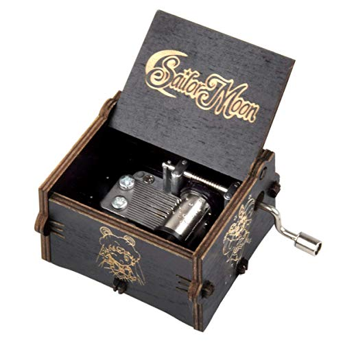 fezlens Wood Music Boxes Sailor Moon Antique Engraved Wooden Musical Box Gifts for Birthday/Christmas/Valentine's Day/Thanksgiving Days Hand-Operated Present Kid Toys (Black)