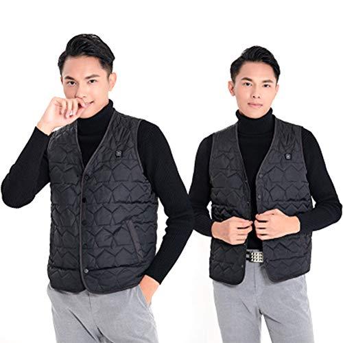 Elektrische vest met V-hals, zonder mouwen, kleding, verwarming, bodywarmer USB, wasbaar, lichte jas, met 3 temperaturen, voor buiten