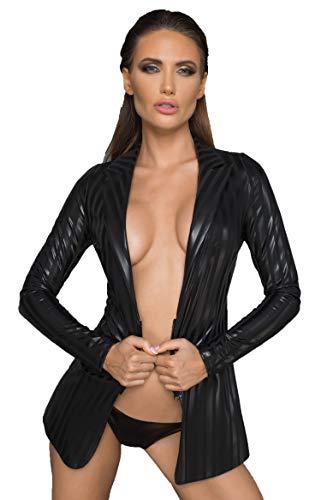 Noir Handmade Frauen Jacke aus Wetlook Material schwarz gestreift mit Reißverschluss erotisch L