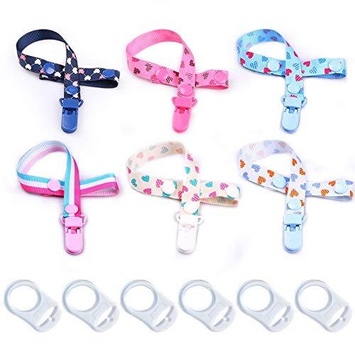 Schnullerband Baby - WENTS Stoff Schnullerkette mit Clip und Baby Ring Adapter Silikonring für Schnuller 12 PCS