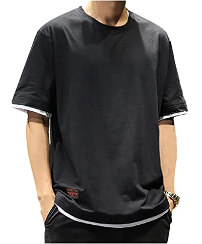 [エムエルーセ] 半袖 ラウンドネック 重ね着風 tシャツ tops カットソー 春 夏 無地 速乾 黒 シャツ 学生服 スクール 丸首 カジュアル アウトドア ゆったり ダボ 襟なしシャツ ワイド ルームウェア 部屋着 かっこいい カッコイイ お兄系 通