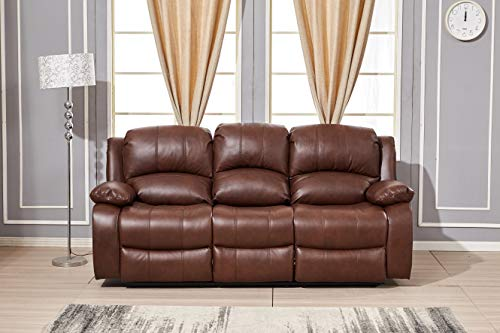 Betsy Furniture Power Reclining Bonded Leather Living Room Set (Brown, Sofa)