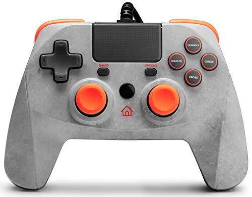 snakebyte GAMEPAD 4S – grau/orange - Controller für PlayStation 4 / PS4 Slim / Pro / PS3, Analoge Dual Joysticks, PC kompatibel (Windows 7 / 8 / 10), 3m Kabellänge, Touchpad, haptische Feedback