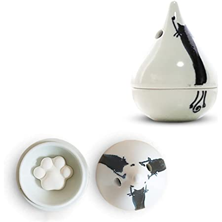 J-kitchens 勲山窯 アロマディフューザー 波佐見焼 日本製 5.5x8cm 肉球型 アロマストーン ( アロマ プレート )5個付 背伸び ねこ