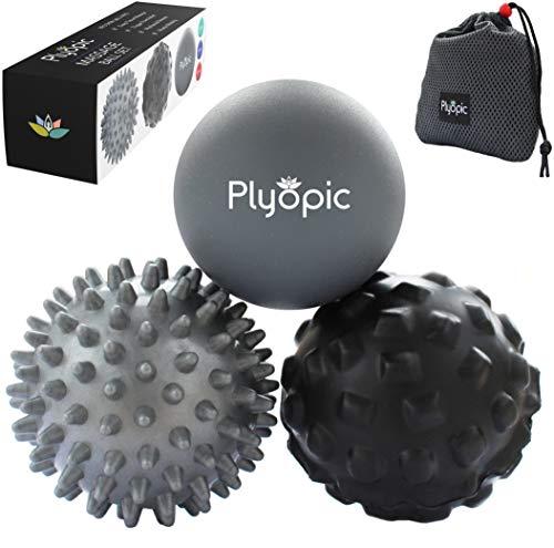 Plyopic Bolas de Masaje – (Set de 3 Massage Balls) – para Automasaje, Liberación Miofascial, Trigger Point, Crossfit y Fascitis Plantar. Elimina Dolores Musculares: Espalda Cuello Piernas Pies etc.