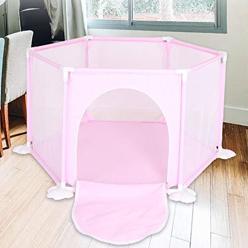 43 sq ft RosaKrabbeldecke mit Atmungsaktivem Netz,6 eckig Laufgitter Zusammenklappbar für Kinder Tragbares Spiel Im Innen- Und Außenbereich, Waschbares Netz Aqua Play für Kinder Sicherer Zaun Zu Haus