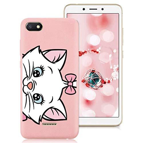 Yoedge para Xiaomi Redmi 6A Funda, Ultra Slim Funda de Silicona Rosa Pink con un Suave Diseño de Dibujos Animados Patrón 360 Bumper Girl Women Case para Xiaomi Redmi 6A, Gato