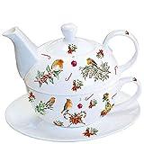 Ambiente Luxury Paper Products Tea for One Tazza e piattino Pot Ornamenti di Natale in Porcellana Bone China Xmas Regalo di Natale casa Cucina Servizio