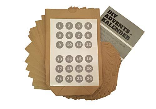 Adventskalender 24 Kraftpapiertüten mit 24 Aufklebern DIY Bastelset mit Geschenktüte zum basteln und befüllen als Adventstüte mit Zahlensticker zum Verschließen