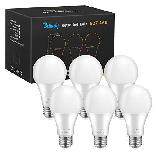 Bellaely Bombillas LED esférica E27, 12W Equivalente a 100W incandescencia, Luz Blanco Cálido 3000K, 1200 lúmenes, A60 lámpara de ahorro de energía de haz de 280°, No regulable - 6 unidades