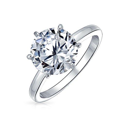 Bling Jewelry Simple 2,75Ct 6 Prong Corte Brillante Promesa AAA CZ Solitario Anillo De Compromiso para Mujer 925 Plata De Ley 925