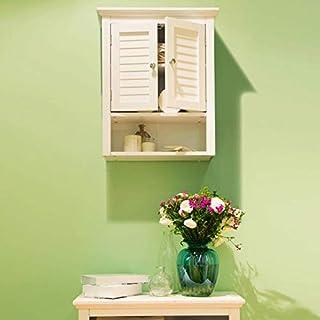 Glitzhome Wooden Bathroom Wall Storage Cabinet, White