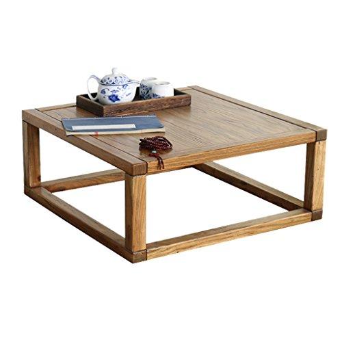Mesa de té Ventana de la bahía Mesa de Olmo Viejo Tatami Mesa de Mesa pequeña Mesa de la Tabla Moderna Mesa de Madera Maciza Minimalista (Color : Brown, Size : 60 * 60 * 30cm)