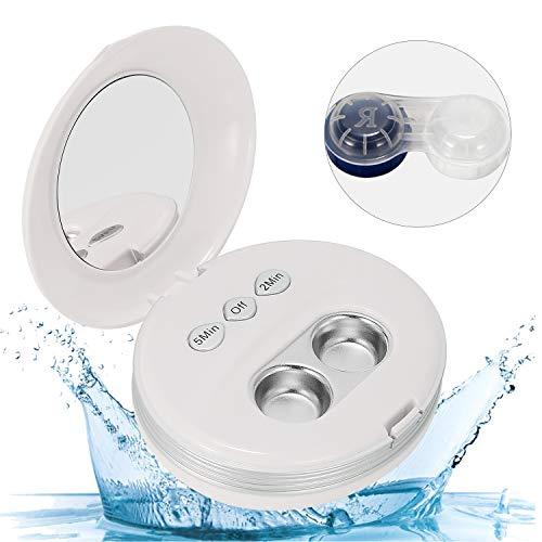 Mxmoonant Ultraschall-Kontaktlinsenreiniger Professionelle Vertragslinsenreinigungsmaschine Tragbar mit zusätzlichem Linsengehäuse 58kHz USB für verschiedene harte und weiche Kontaktlinsen (weiß)