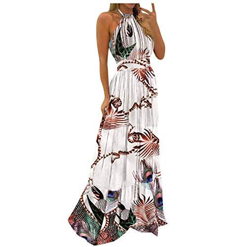 StarneA Damen Sommerkleid Lang Boho Ärmellose Drucken Abendkleider Mode Elegant Maxikleider Lose Kleid Strandkleid