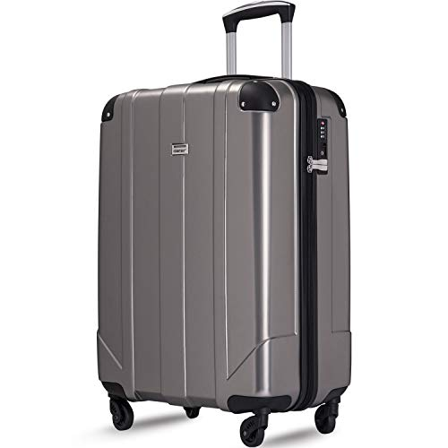 Merax Hardside Spinner Luggage with Built-in TSA and Reinforced Corners, Eco-friendly P.E.T Light Weight Carry-On 20' 24' 28' Suitcases (20 inch, Gray)