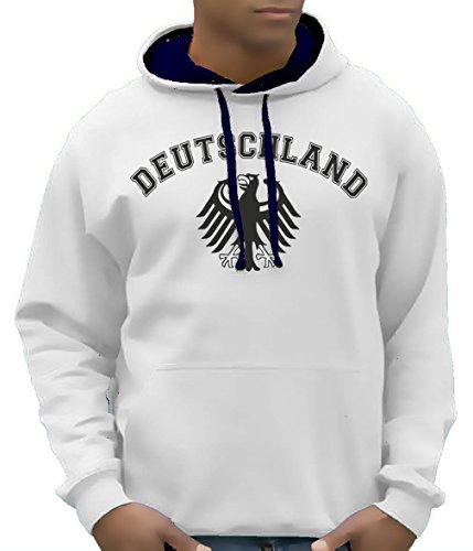 Coole-Fun-T-Shirts Herren Sweatshirt Deutschland Adler Bico Hoodie mit Kapuze, Weiß, XL, 10879