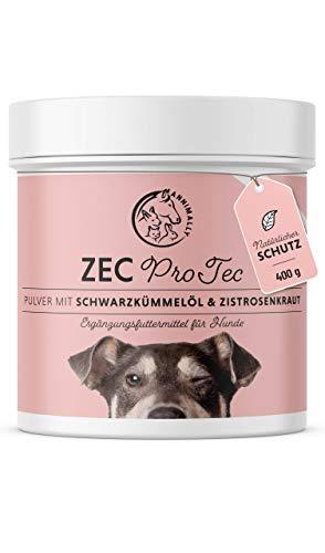 Annimally Zec ProTec Pulver für Hunde - 400g Pulver mit Schwarzkümmelöl, Zistrosenkraut, Bierhefe & Seealge - Effektives Schutz Pulver als Alternative zu Tabletten und Drops