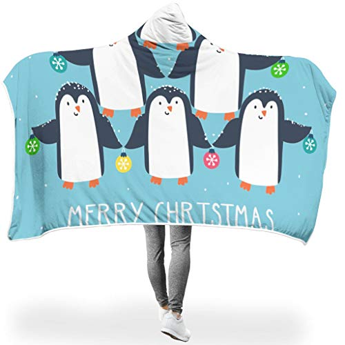 Charzee Pinguin ThemeHome Hooded Throw Wrap Bequemes Schlafdecke Computer Fleecedecke Für Erwachsene Oder Kinder White 130x150cm