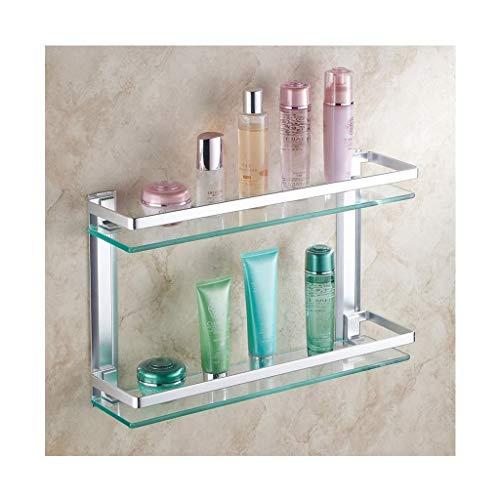 Mlzaq Los estantes de baño 2-Tier, carrito de la ducha del baño cesta de almacenamiento de estanterías, Homeself grueso de cristal templado de pared de aluminio de baño montado en estante de la cocina