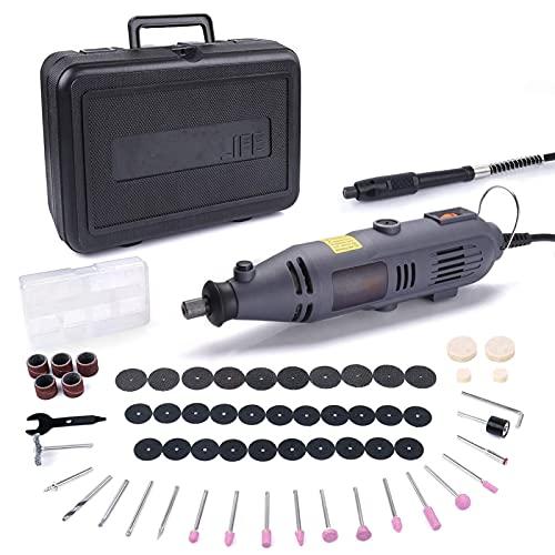 Multifunktionswerkzeug, Multitool 135W mit 59 Zubehör und Biegsame Welle zum Trennen Schleifen Gravieren Polieren, Inkl. Werkzeugkoffer
