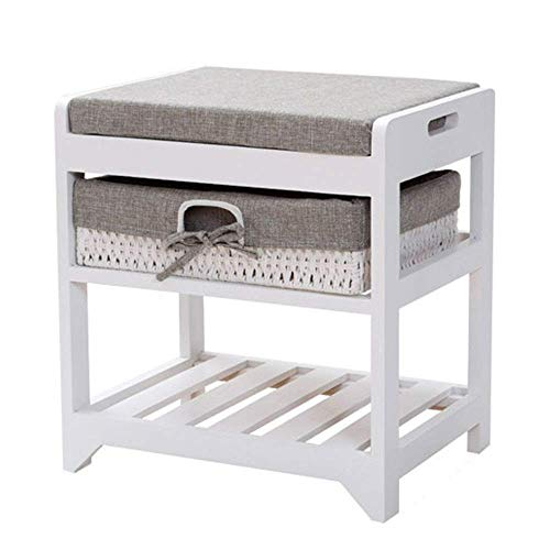 TTZY Shoe Racks Wooden Bench Cushion Seat Shoe Storage Cabinet Unit With Shelves Wicker Baskets Hallway Free Standing (Color : Grey, Size : 42x32x45cm) SHIYUE