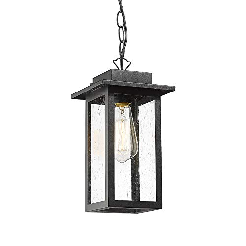 CALDION Modern Outdoor Pendant Lighting, 1-Light Exterior Hanging Lantern Porch Light in Balck Finish with Seeded Glass Shade, Pendant Light Fixtures for Patio Entryway, 2485-1HL