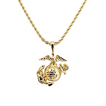 Men s Yellow Gold Plated USMC Marine Corp Corps Pendant Necklace 20