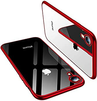 TORRAS Crystal Clear Designed for iPhone XR Cases [Always Clear] [Ultra Thin Slim Fit] Soft Silicone TPU Protective Cover Case for iPhone XR Red
