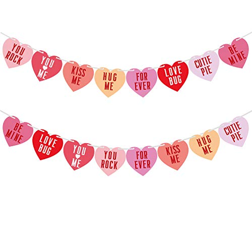 URATOT 2 Pack Multicolored Candy Hearts Banner Paper Heart Garland Banner for Conversation Valentine's Day Decoration
