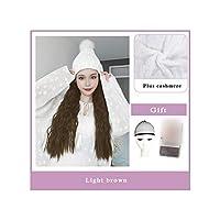 ナチュラル接続髪合成のBlack Hatカーリーヘアストレートヘアウィッグ弾性ニット帽子ウィッグ耐熱女性、2I306,22Inches