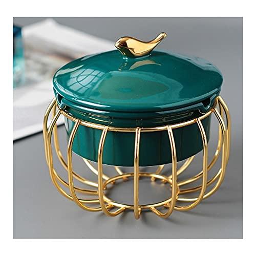 jiji Cenicero de cerámica con tapa, cenicero resistente al viento, para interior y exterior, cenicero redondo delicado con tapa (verde), interior familiar (color verde)