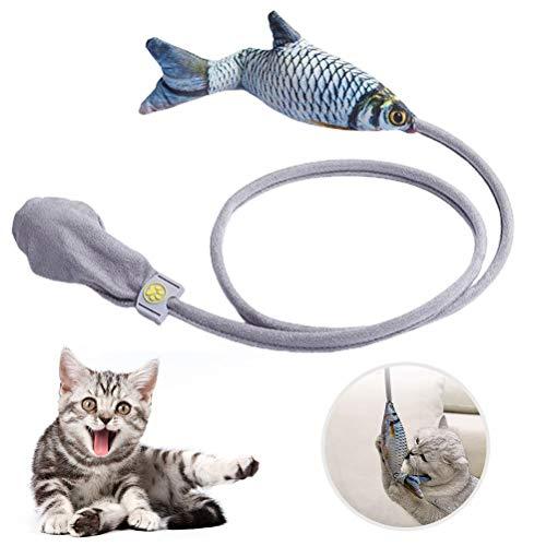 Hopowa Pez de Juguete para Gatos, Juguete con Hierba gatera, Juguete Interactivo de Peluche de pez de muñeca para Gato, Juguete para Masticar Almohada para Gato