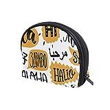 Bolsa de maquillaje de viaje con diseño de letra Hello con cremallera para mujeres y niñas