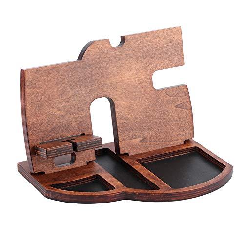 Holz Handyhalter Uhr Aufbewahrungsregal Schmuck Aufbewahrungsbox Tablett Große Kapazität Schmuckhalter Desktop Organizer Display Stand für Home Office Telefon Uhr Schmuck Schlüsselbrieftasche