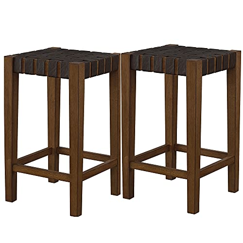 Ball & Cast Kitchen Room Counter Stool 24 Inch Seat Height Brown Set of 2