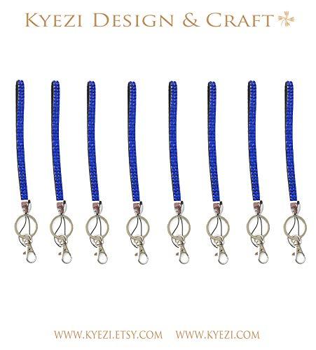 "20 pcs Royal Blue 6"" Short Wrist Strap Rhinestone Crystal Luxury Bling Bling Lanyard for Cell Phone ID Key Chain Holder Badge ID (Royal Blue, 20 Lanyards)"