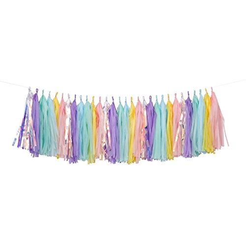 Fonder Mols 30pcs Rainbow Unicorn Tissue Tassel Garland DIY Kit Soft Pink Pastel Ombre Tissue Tassel Banner Girls Room Baby Shower Nursery Decor Unicorn Party Favors A29