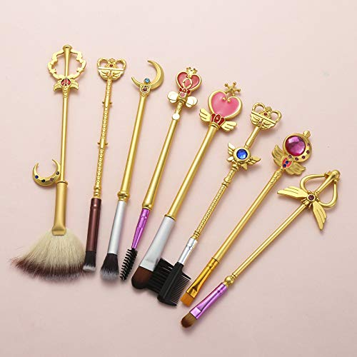HZD 8Pcs Anime Makeup Brushes Set Cosmetic Tool Set Kit Eye Liner Shader Natural Synthetic Hair Eyeshadow Makeup for Fan,8pcs