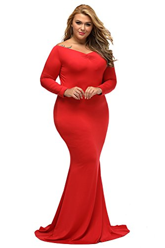 LALAGEN Women's Plus Size Off Shoulder Long Sleeve Formal Gown Red XL