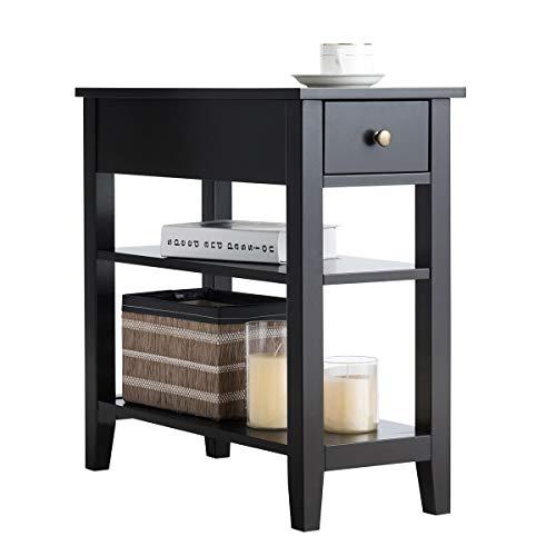 COSTWAY Konsolentisch mit Ablage und Schublade, 3-stöckiger Beistelltisch Holz, Nachttisch Industrie Design Flurtisch für Wohnzimmer 60x28,5x61cm (Schwarz)