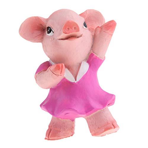 Homyl Cochon Résine Décor Paysage poupée Miniature Statues de Jardin - Cochon de Danse